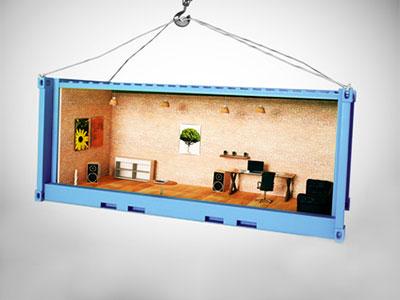 3D Illustration eines Containers mit einem eingerichtetem Raum im Inneren